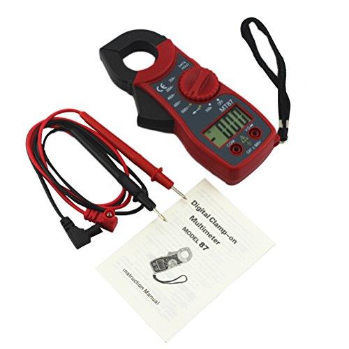 UEETEK Pinza Amperimétrica Multímetro digital Amper amperimétrica Corriente Pinza Probador de voltaje de corriente CA CC MT87 (Rojo)
