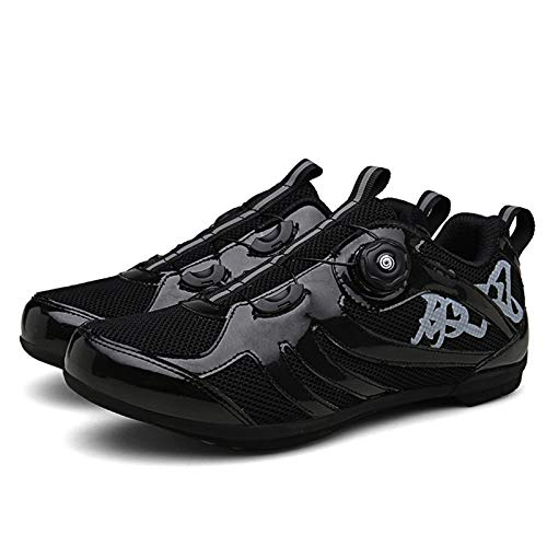 Non-Locking MTB Cycling Shoes,Lock-Free Cycling Shoes MTB Shoes Road Bike Shoes Cycling Sneakers Spin Shoes,Black-44