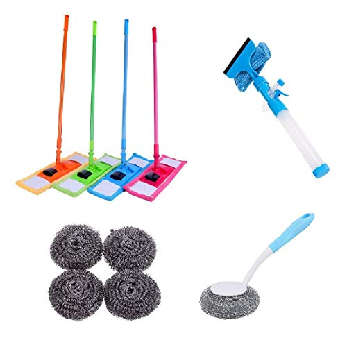 Combo – 1 PCs Chenille Microfiber Floor Cleaning Mop (with) 1 PC Window Glass Cleaning Wiper Brush (with) 1 PCs Kitchen Pot Brush BBQ Cleaner Brush Pan Dish Grill Scrub Steel Wire Cleaning Ball