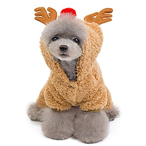 Lovinouse Pet Christmas Reindeer Costumes, Dog Velveteen Hoodie Coat Clothes, Dogs Elk Xmas Costume for Kitten and Puppy Cosplay New Year Dressing up Party (L)