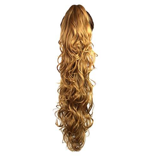 HLIYY Clip De Longue Queue De Cheval De La Griffe BoucléE Clip dans Les Extensions De Cheveux Postiche OnduléE Perruque pour Femme Longue Bouclée avec Frange