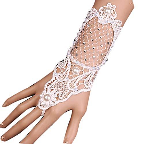 Gothic Weiße Spitze Handschuhe, Fingerlose Handschuhe Spitze Braut Hochzeit Handschuhe Kostüm Handschuhe für Party Abendkleid Ball Feier (5 Paar),White