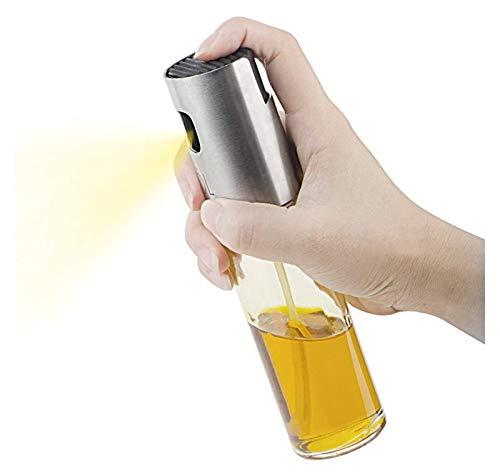 WANGQW El Aceite Puede olivar o vinagre Anti-Fuga, Dispensador de pulverizador de Aceite de Oliva portátil para cocinar/Barbacoa/Ensalada/Acero Inoxidable Botella de Vidrio de Aceite a la Parrilla