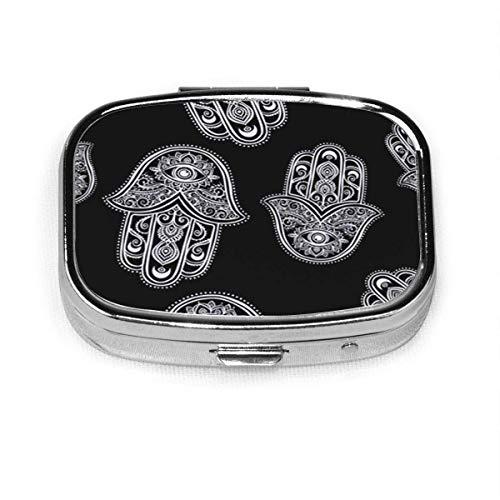 Hamsa The is Palm Shaped Amulet Talisman Hand Kaleidoscope Square Pill Box...