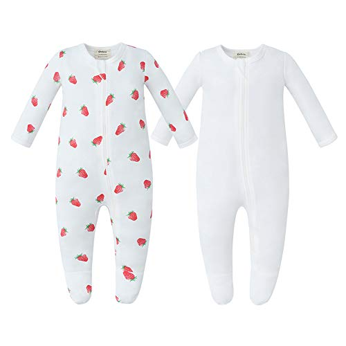 Owlivia Organic Cotton Baby Boy Girl 2 Pack Sleep 'N Play, Zip Front Non-Slip Footed Sleeper Pajamas(3-6Months, Strawberry + Off White)