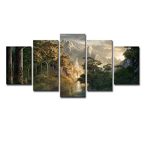 SARUI 5 Panel Wandkunst für Zuhause Dekorationen Veranda Ölgemälde Fünf Stück Leinwand Bilder Der Burg Auf Dem Berg Herr Der Ringe Plakat-Malkern_30X45Cm-2P+30X60Cm-2P+30X75Cm-1P
