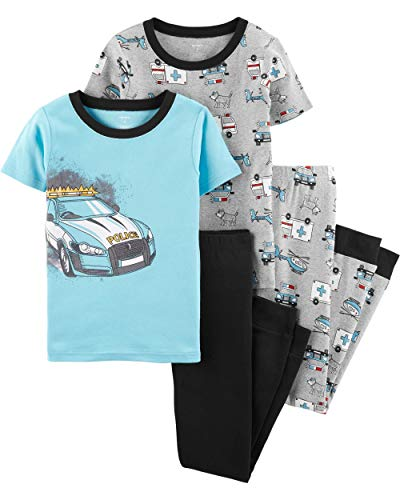 Carter's Boys Snug Fit Cotton PJs Pajamas (Blue/Heather Police Car, 12)