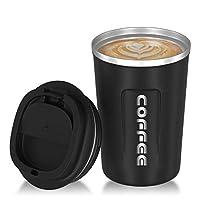 tazze da viaggio, binsein tazza da caffè da viaggio tazza da caffè tazza da auto riciclabile in acciaio inossidabile isolata sottovuoto, adatta per caffè, tè, acqua (380 ml)