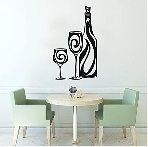 Botella de vino Gafas Etiqueta de la pared Decoración del hogar Cocina Café Restaurante Diseño de interiores Decoración Papel tapiz extraíble 57 cm x 30 cm