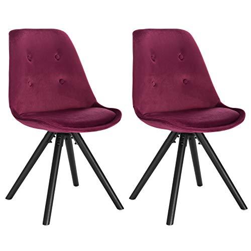 WOLTU® BH196bd-2 2 x Esszimmerstühle 2er Set Esszimmerstuhl, Sitzfläche aus Samt, Design Stuhl, Küchenstuhl, Holzgestell, Bordeaux
