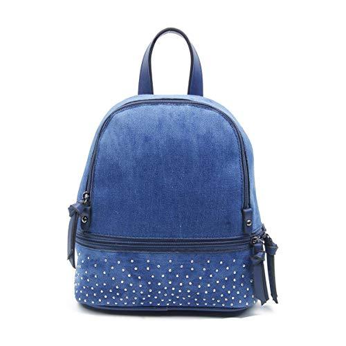 OBC Damen MÄDCHEN Jeans Rucksack Backpack Strasssteine Glitzer Denim Baumwolle Cityrucksack Stadtrucksack Schultertasche Handtasche (Blau)