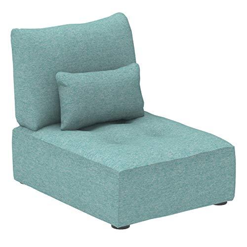 Marca Amazon - Alkove Elvas - Módulo uniplaza con almacenaje y cojín adicional para sofá modular, 70 x 100 cm, turquesa
