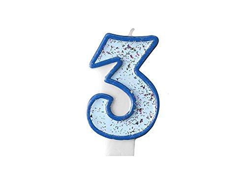 LoBeSo® Kerze Silber Glitzer Zahl 3 Blau 7 cm x 4 cm Geburtstagskerze Kindergeburtstag Zahlenkerze Kuchendeko Kuchenkerze Glitzerkerze