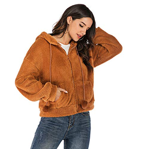 SLYZ Autumn and Winter Women's Fashion Casual Fleece Woolen Coat Women's Solid Color Loose Hooded Top Brown