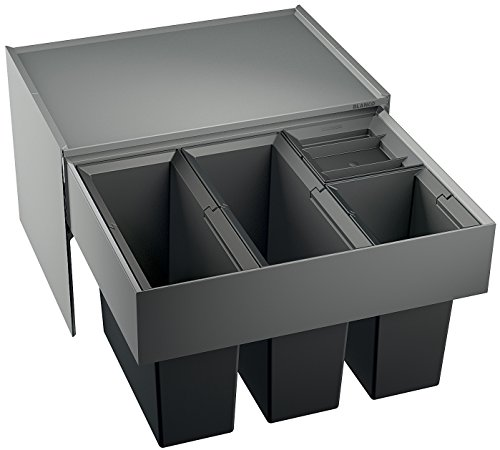BLANCO Select 60/4, Müllsystem zur Abfalltrennung für den 60 cm-Unterschrank, mit 4 Abfalleimerrn aus schwarzem Kunststoff (2 x 15 l/2 x 6 l), zur Montage an der Fronttür, 1 Stück; 520781