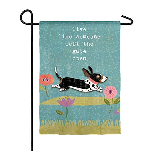 Someone Left The Gate Open Garden Suede Flag - 13 x 1 x 18 Inches Dog Lovers Outdoor Décor for Canine Lovers of Gifts for Pet Lovers