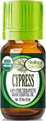 CERTIFIED USDA CYPRESS ESSENTIAL OIL - Healing Solution's Cypress Essential Oil is registered on the USDA Organic Database 100% PURE CYPRESS ESSENTIAL OIL - All of our Essential Oils are routinely tested for purity and results of these tests are publ...