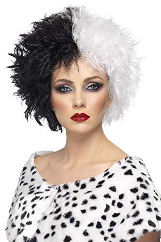 Smiffys-42117 Peluca de señora Mala y Blanca, Corta, rizada, Color Negro, Tamaño único (Smiffy