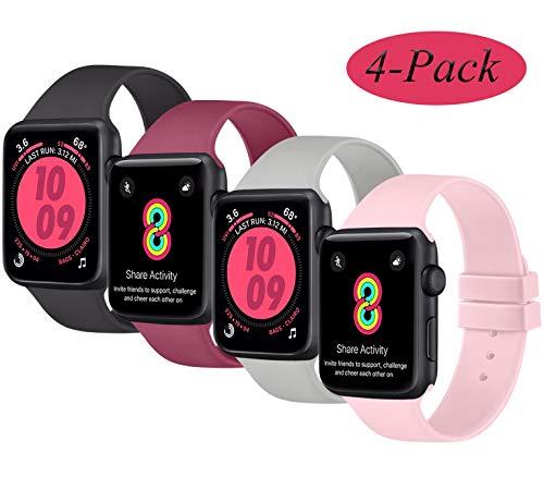 AK 4er-Set Kompatible für Apple Watch Armband 38mm 42mm 40mm 44mm, Weiche Silikon Ersatz Armband für Apple Watch Series 5 4 3 2 1(Schwarz/Grau/Weinrot/Rosa, 38mm/40mm-S/M)
