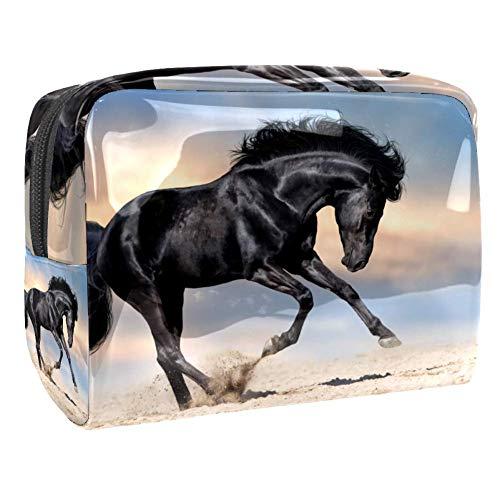 Trousse de toilette multifonction pour femme - Motif cheval en course - Noir