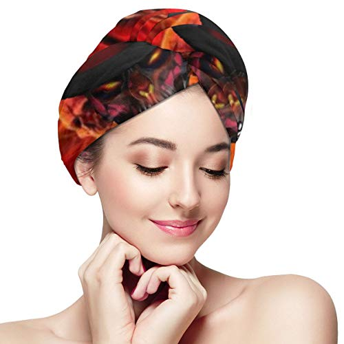 Bettiboy Day of The Dead Sugar Skull Flame Microfiber Hair Towel Wrap for Women Super Absorbent Quick Dry Hair Turban for Drying Curly Spa Towel 11¡± X 28¡±