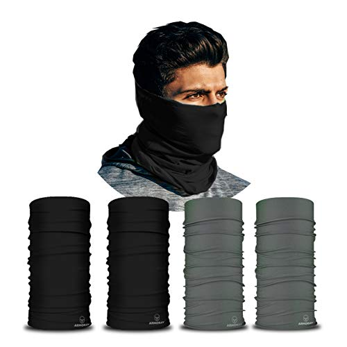 ARMORAY Neck Gaiter Face Mask - 4 Pack Reusable & Washable Cloth Face Cover, Bandana, Shield & Scarf for UV Sun & Dust Protection - Outdoor Head Wrap for Fishing, Motorcycle Riding (BLACK+GRAY 4 Pack)