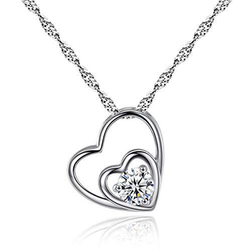 Collana da donna, collana con pendente a doppio cuore, collana di gioielli di cuore lucido, confezione elegante, regalo di San Valentino / festa / anniversario / compleanno