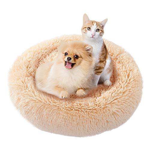 Etophigh Savlot Rundes Haustierbett, Haustierbett Für Katzen Kleine Hunde Rundes Plüschbett Katzennestbett Kissen