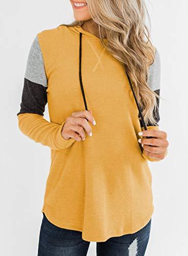 Asvivid Ladies Pullover Sweatshirt Casual Color Block Drawstring Loose T-Shirt Jumper
