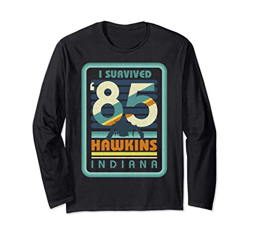 Stranger Things I Survived '85 Hawkins Indiana Maglia a Manica