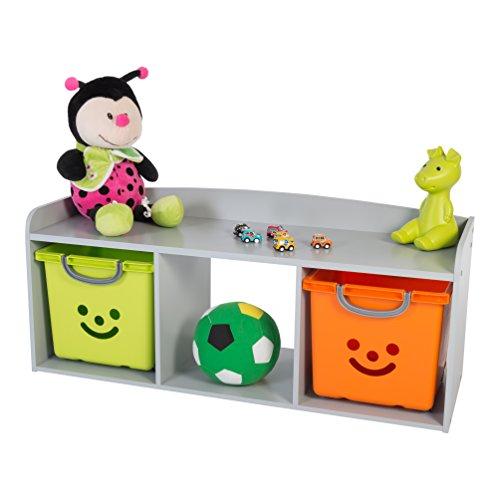 IRIS, Kindersitzbank 'Kids Bench' mit Stauraum / Aufbewahrung, Holz, grau, 101,4 x 34 x 43,4 cm