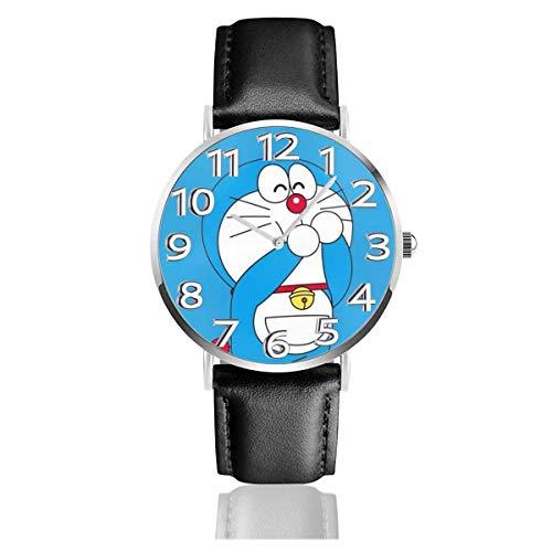 Lindo Doraemon Unisex Easy Reader analógico de Cuarzo de 38 mm Reloj con Correa de Cuero