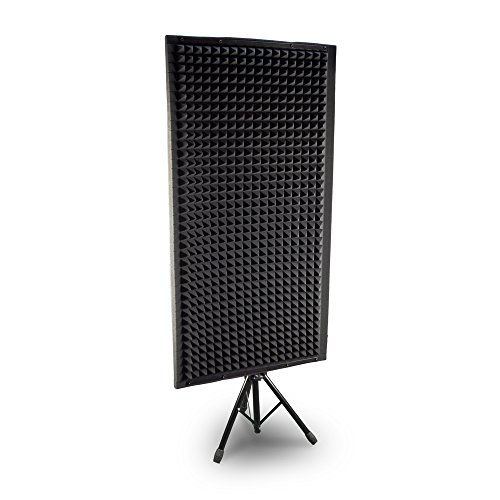 Pyle PSiP24 Acoustic Isolation Absorber Shield Sound Wall Panel Studio Foam and Dampening Wedge with Height Adjustable Stand