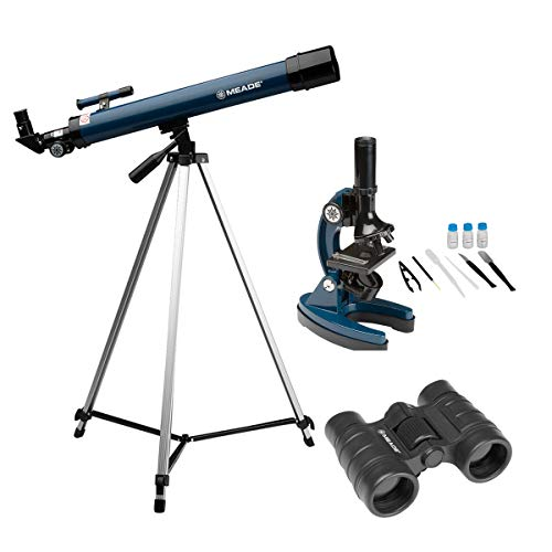Kit Telescópio 50mm Refrator, Microscópio 900x e Binóculo 4x30 Meade