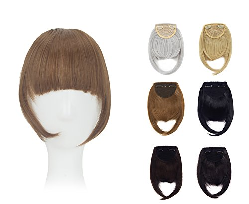 ZAIQUN 8 Inches Two Side Long Straight Bang Clip in Bangs Fringe Hair Extensions for Girls Women...