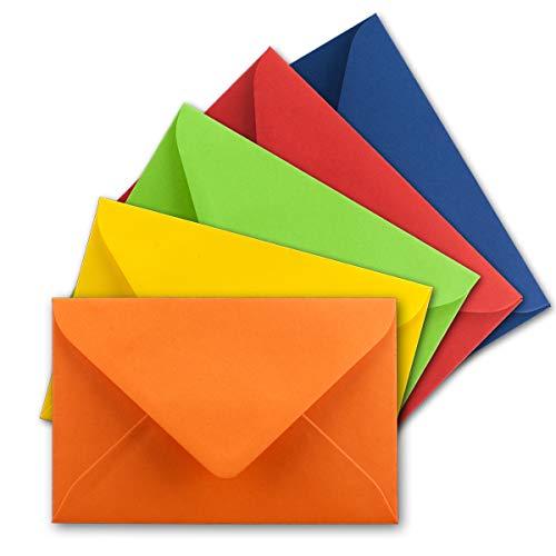 25x Umschlag-Set aus farbigen Umschlägen Bunt in DIN C8 7,6 x 5,2 cm Miniatur Kuverts mit Nassklebung in 5 Farben