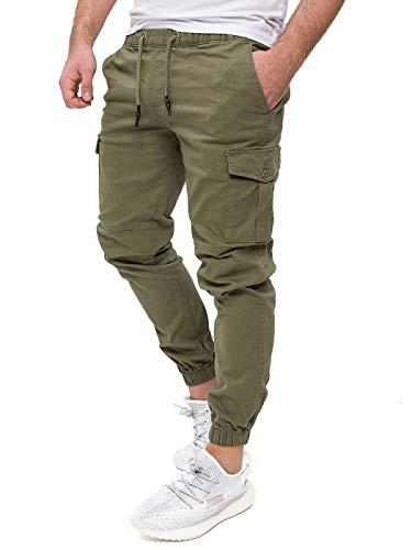 PITTMAN Männer Cargo Chino Hose Kaki Cargohose Darius by Pit Jeans Herren Skinny Jogginghose Olive Hosen Pants Slim, Grün (Green 180312), W34/L34