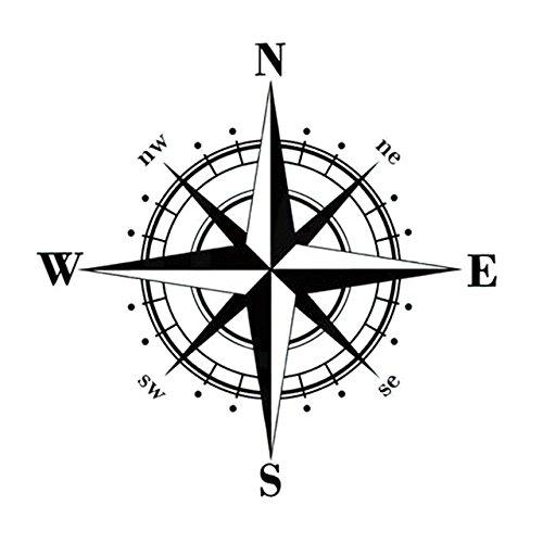 ARWY 15cm*15cm Art Design Vinyl NSWE Compass Car Stickers Decals Black S6-3505