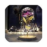2020美しさと獣永遠のフラワーローズバレンタインデーギフト用ガラスカバー、ゴールドホイル-紫の結婚式の装飾人工花