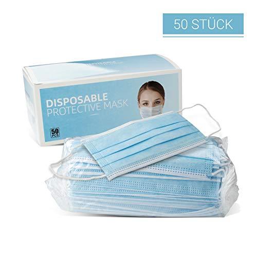 FACKELMANN Mund- & Nasenmaske, Einwegmaske mit Ohrbügel, hochwertige Mundmaske, Maske für Staub, Universalmaske als Partikelschutz (Farbe: Blau/Weiß), Menge: 1 x 50 Stück