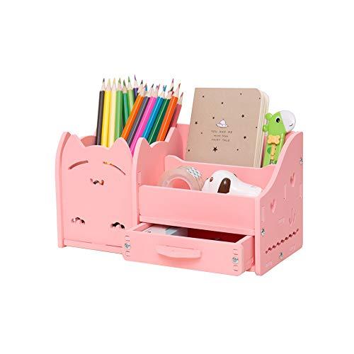 Kreativer Kombi-Stifthalter, Multifunktionsspeicher, eine Schublade + zweischichtiges Gitter + ein quadratischer Stifthalter, Katzenform, PVC-Material, pinkes Quadrat, 8,7 Zoll * 4,25 Zoll * 4,7 Zoll