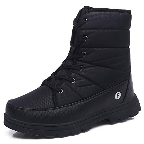 Herren Damen Schneestiefel Winter Warm Paar Schuhe Outdoor Wasserdicht Halbschaft Stiefel Warm Pelz Plateau Schuhe, Schwarz - Schwarz - Größe: 44 EU