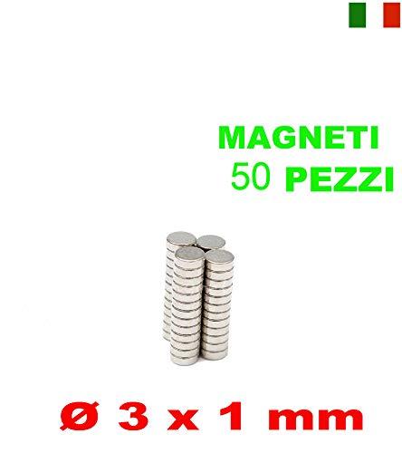 Magnet Expert - Imanes circulares para manualidades,neodimio resistente grado N42, 3 x 0,5 mm, 0,08 kg, 50 unidades