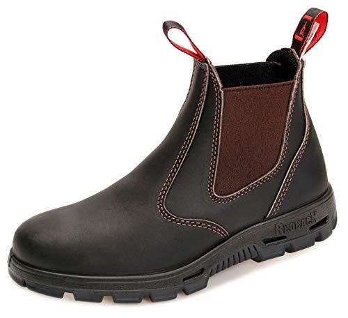 RedbacK BUSBOK Safety Work Boots aus Australien - mit Stahlkappe - Schwarze Sohle - Unisex   Claret Brown (05.0/38)