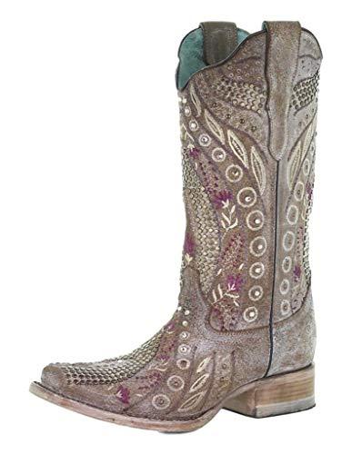 Corral Mauve Studded Square Toe Boots, 10.5