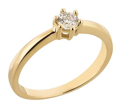 Ardeo Aurum Damenring aus 585 Gold Gelbgold mit 0,25 ct Diamant Brillant Solitär Verlobungsring Viertelkaräter