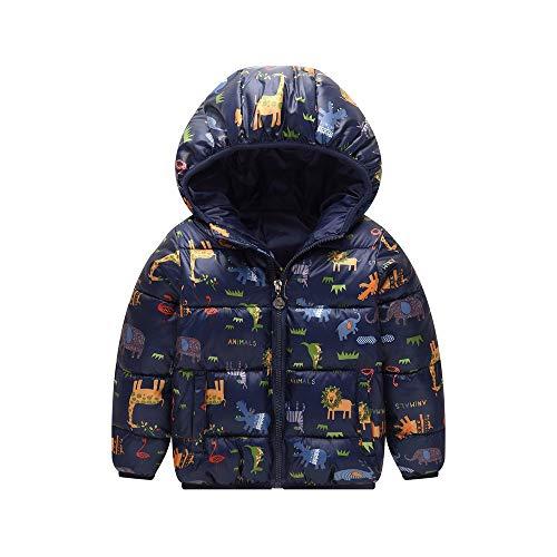 Ramingt-Clothing Veste à Capuche Kid Enfants d'hiver Veste à Capuche légère imperméable Tops Tenues Manteau Chaud Vestes d'extérieur Manteau d'hiver Mince (Color : Blue, Size : 100cm)
