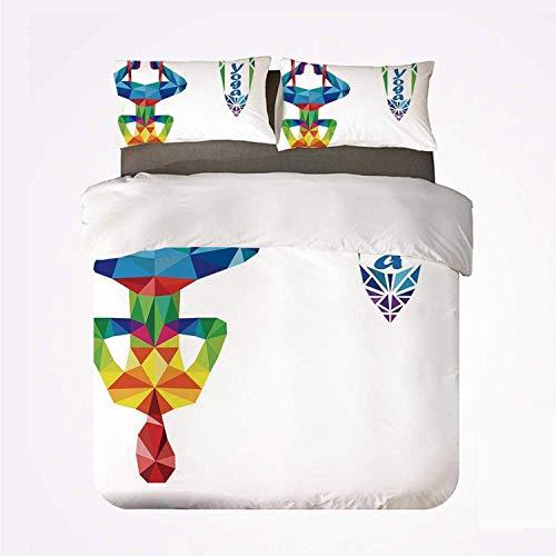 Duvet Cover Set Yoga Warm 3 Bedding Set,Aerial Aero Anti Gravity Yoga Theme...
