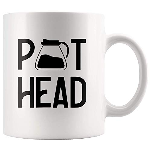 Funny Coffee Lover Gifts Pot Head Coffee Drinker Gifts for Office Coworker Boss Housewarming Coffee Shop Decor White Ceramic Coffee Mug
