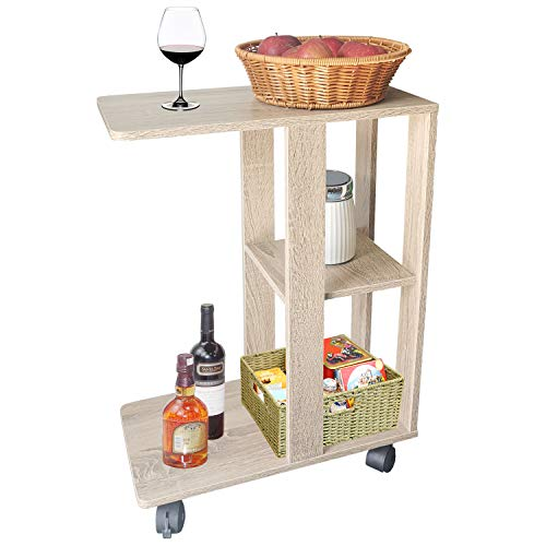 HuiDao Rolling End Table Cart C Shape Wooden Mobile Sofa and Bed Side Table with 4 Wheels, Laptop Snack Coffee End Table for Bedroom Living Room